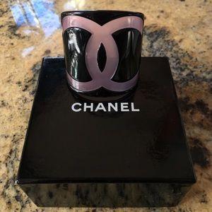 Authentic CHANEL Pink&Black Lucite CC Logo Cuff